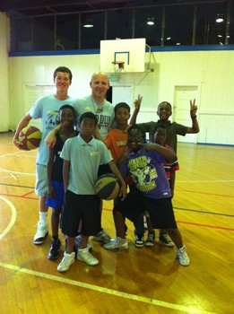 Group photo in basketball gym